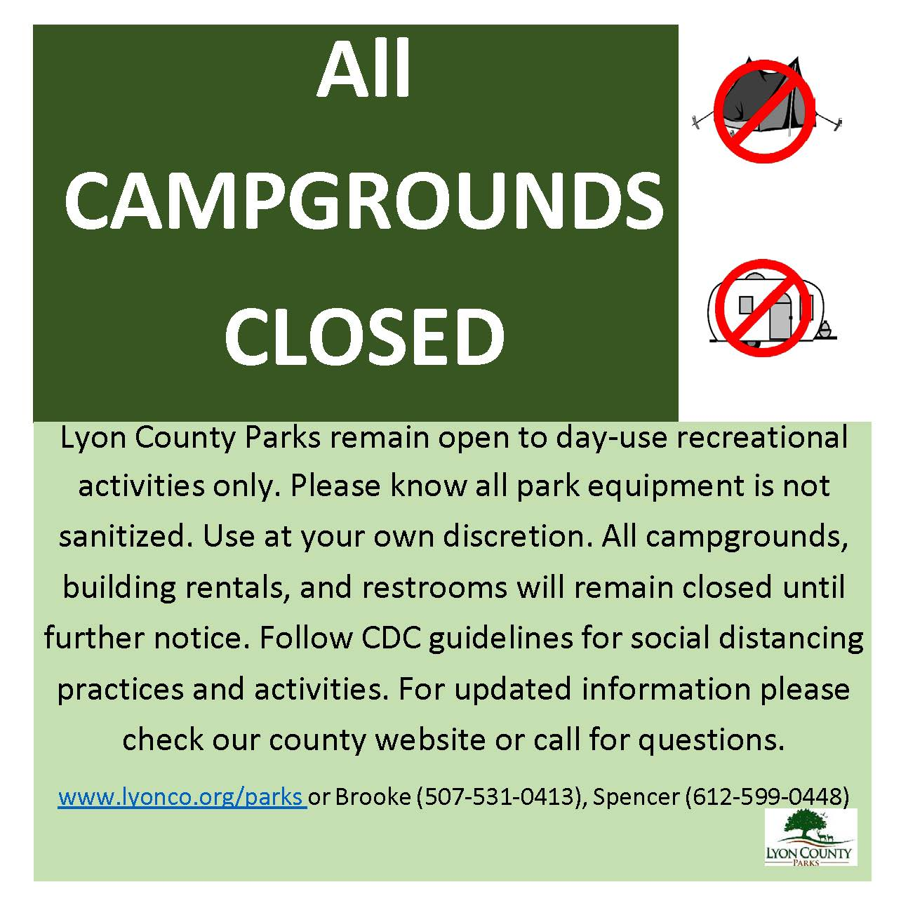 Text, tent and camper with not sign over them. Lyon County parks logo